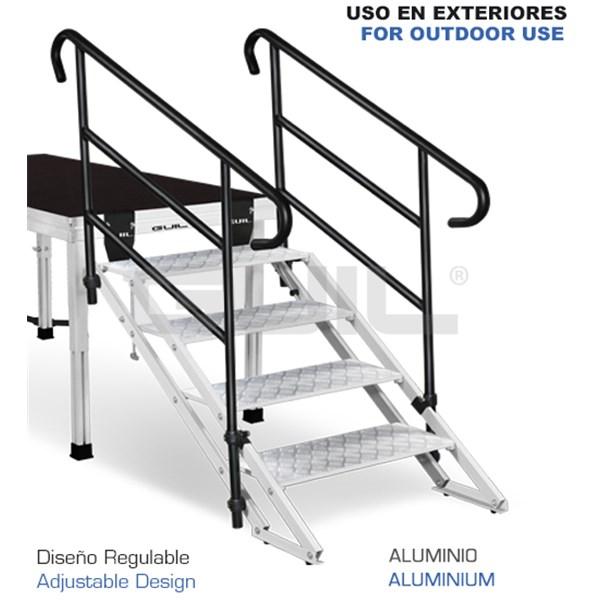 4 Escalera regulable de 4 peldaños de aluminio con pasamanos para ...