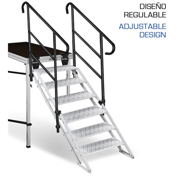 Ecp 6 escalera regulable de 6 pelda os de aluminio con for Ofertas escaleras de aluminio