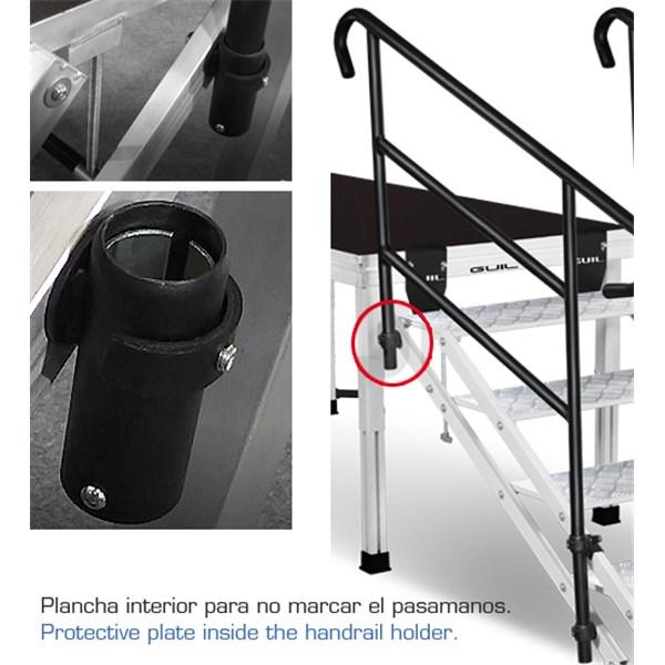 Ecp 6 escalera regulable de 6 pelda os de aluminio con for Altura pasamanos escalera
